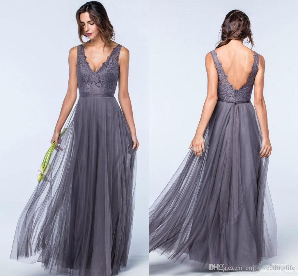 2017 gray lace tulle bridesmaids dresses for summer weddings a 2017 gray lace tulle bridesmaids dresses for summer weddings a line v neck bohemian pleats wedding guest dresses evening gowns cream bridesmaid dresses dark ombrellifo Gallery