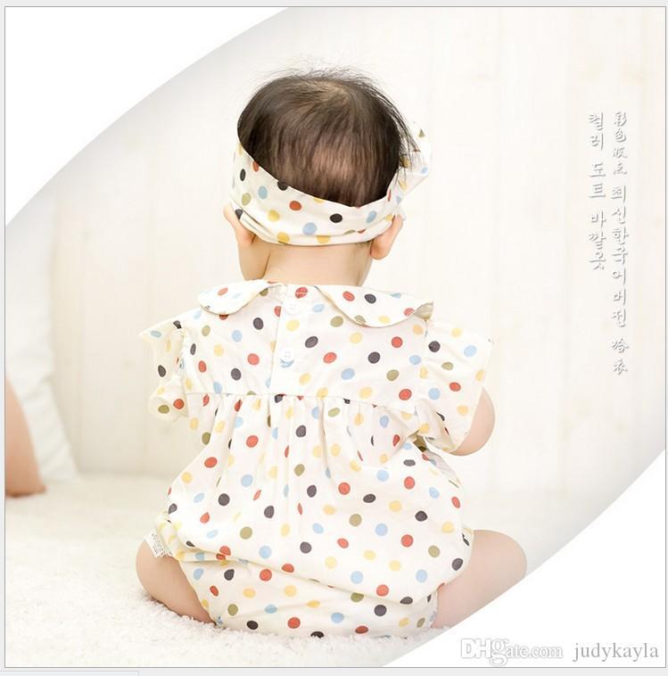2016 Macacão de Bebê Da Criança Infantil Meninos Meninas Colorido Polka Dots Romper Com Headband Recém-nascidos Bebês Verão de Manga Curta Macacões 4 pçs / lote