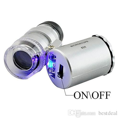 60x Microscoop Juwelier Magnifier 60 X Mini Loupes Magnifiers Pocket Jewelry Microscopen met LED Light + Lederen Pouch 2018 Hot Sales