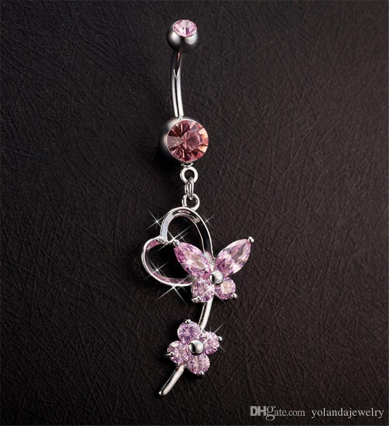 Hot Sale Women Belly Button Rings Stainless Steel White/Pink/Blue Butterfly Navel Piercing Dangle Belly Rings for Sexy Ladies
