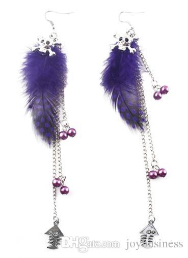 Feather Earrings wholesale Cute Bead Skull Fish Bone Light Dangle Eardrop  Purple Green Yellow Orange Pink Blue Red JF302