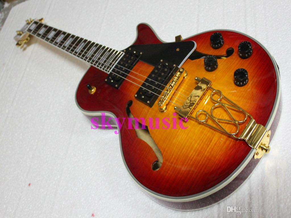 latest finished best price electric jazz guitar hollow body cherry sunburst cs color in stock. Black Bedroom Furniture Sets. Home Design Ideas