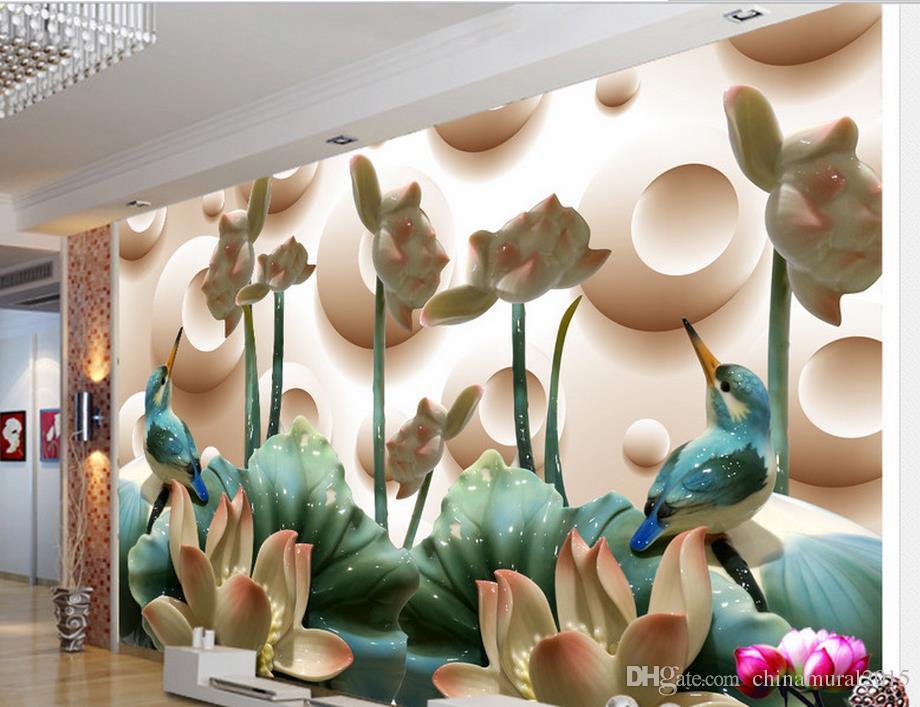 papier peint photo 3d personnalisé Jade lotus maison oiseau et la richesse murale 3d papier peint