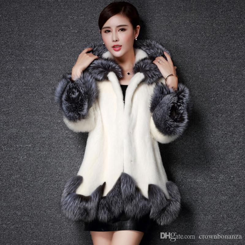 search for clearance 100% quality quarantee top design faux fur coat women jacket mink luxury women long coat Imitation fur jacket  women coat plus size 8XL