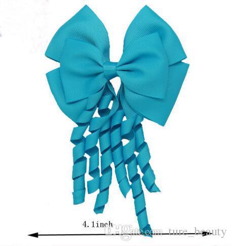 196 Farben! 4inch Korker Streamer Ribbon Elastic Bobble Grosgrain Band Langer Korker Schwanz Fancy Netter Haarbogen mit Clip Für Mädchen /