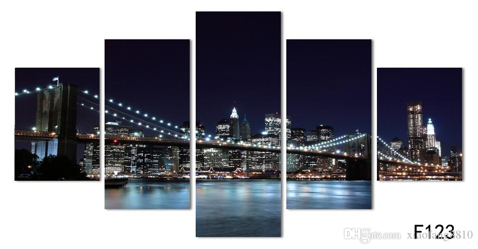 Canvas Prints New York City Landscape Oil Painting Beautiful Modern Bridge Picture Wall Art Decor Painting Printed On Canvas No frame