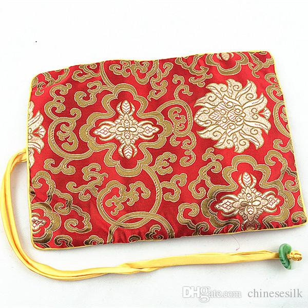 Folding Jade Travel Jewelry Roll Up Bag Chinese Silk Brocade Pouch Ladies Makeup Storage Bag Drawstring Large Cosmetic Bag Zipper