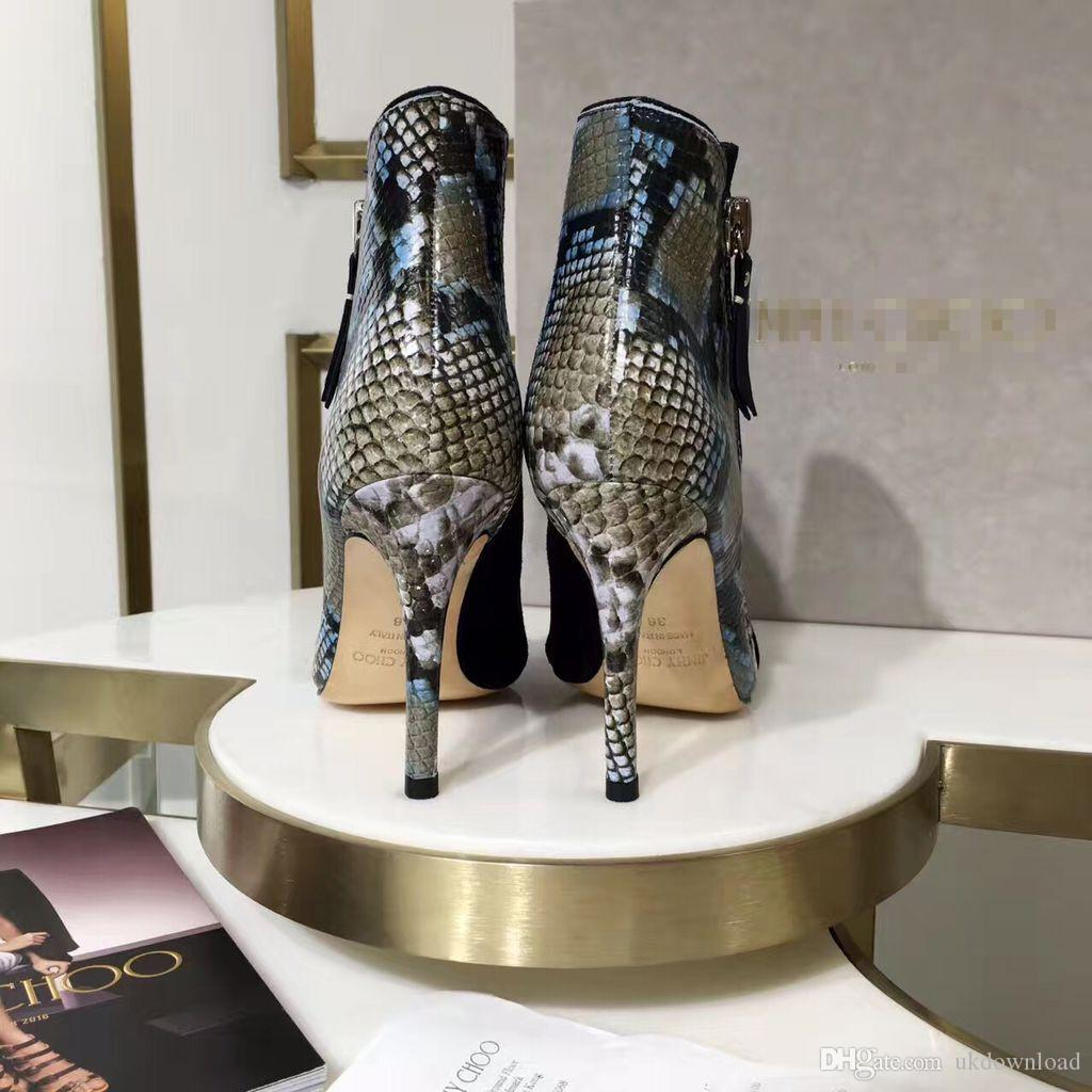 Women Boots Ankle slip on High Thin Heels High Quality Woman New Fashion Spring Shoes Snakeskin python skin pattern booty