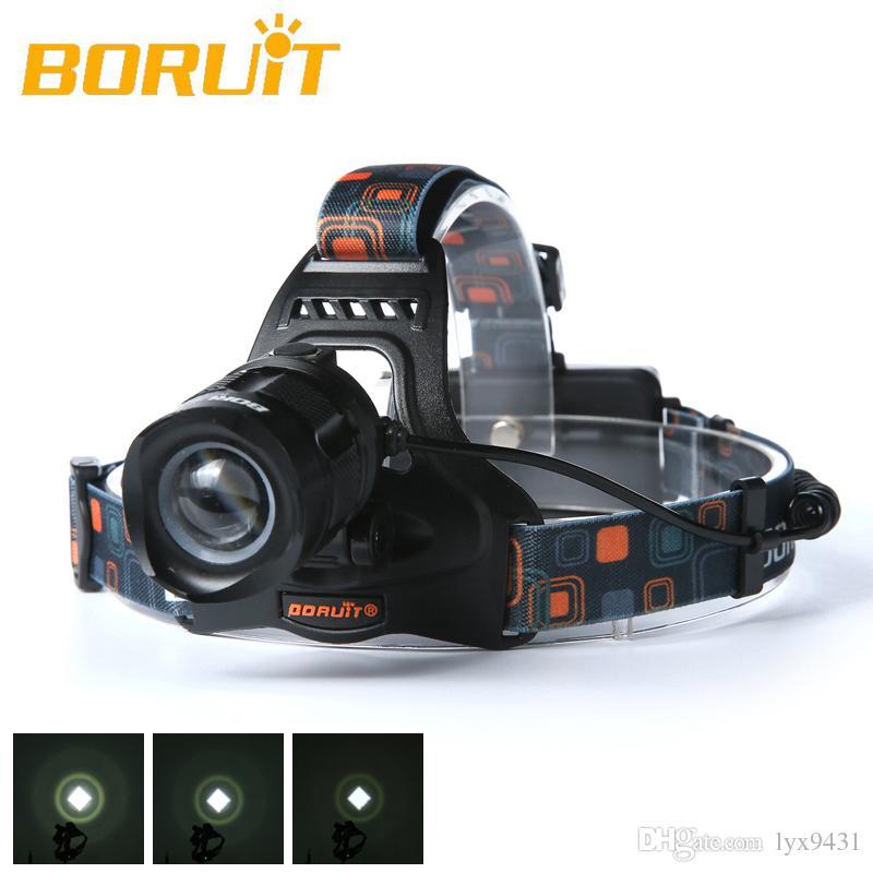 Boruit 2500LM Cree XM-L2 LED المصباح 5-Modes كشافات رئيس التركيز الشعلة + شاحن USB + 18650 4000mAh بطاريات الصيد التخييم