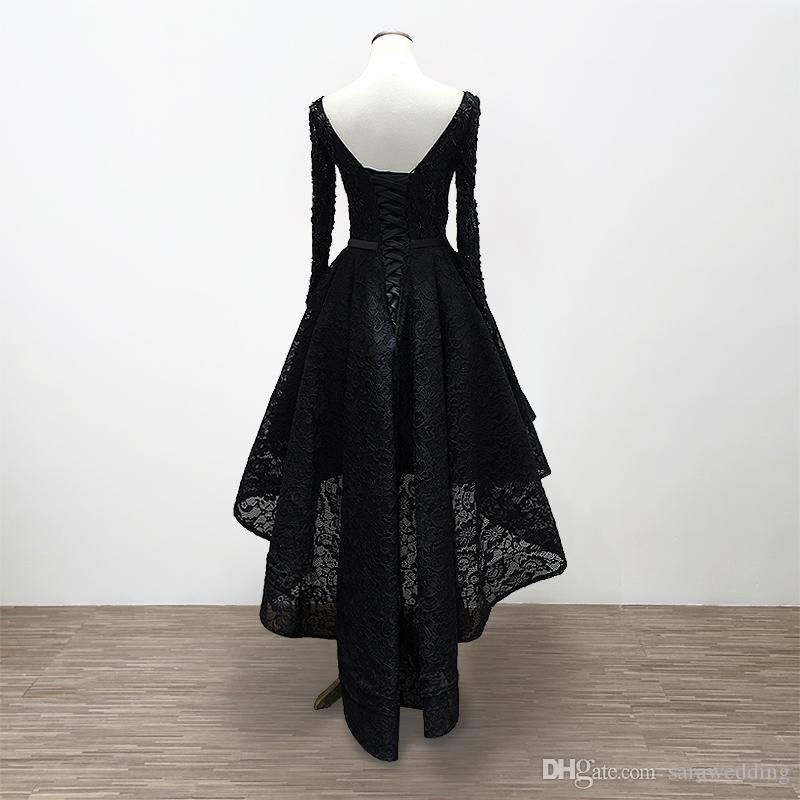 Lace Prom Dresses Long Sleeves 2020 Black High Low Prom Gowns Scoop Neck Formal Dresses Real Photo