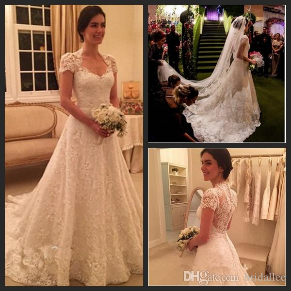 2016 Wedding Dresses With Short Sleeve Sweetheart A Line Lace Brial Gowns Luxury Vestido De Noiva New Ivory Lace Long Wedding Gown