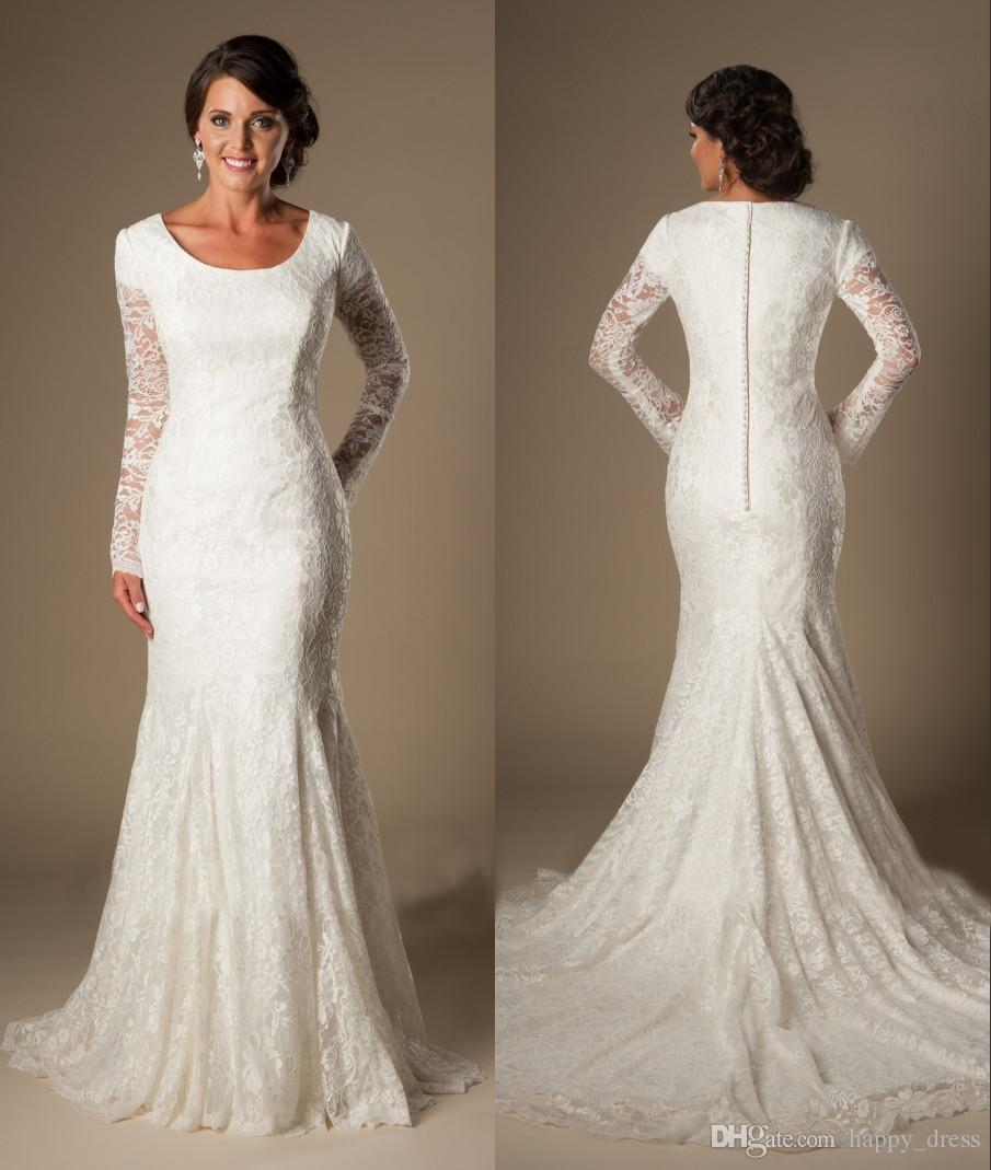 Mermaid Lace Modest Temple Wedding Dresses With Long
