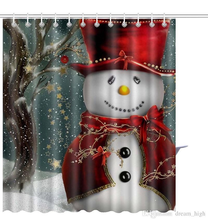 150 * 180 см Рождество Снеговик душ занавес водонепроницаемый 3D печатных ванная комната душ занавес крючки Санта декор для дома Новый год 21 стиль
