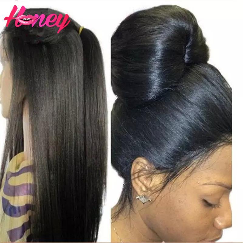 Italian Yaki Wig Brazilian Light Yaki Full Lace Wig & Lace Front Wig Glueless Human Hair Italian Yaki Wigs With Baby Hair DHl Freeship