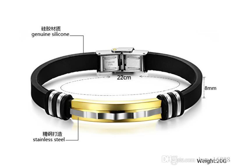 Art und Weise Armband-Männer Schmucksache-schwarze Silikon-Armbänder für Mann-Edelstahl-Frühlings-Haken-preiswertes Armband Großverkauf Freies Verschiffen