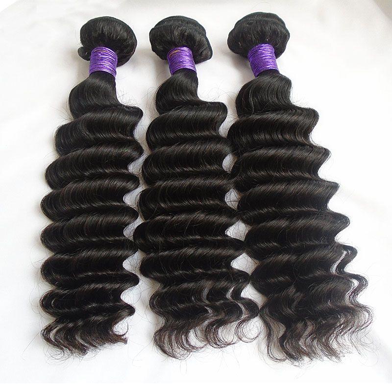 Deep Wave Brazilian Virgin Hair Bundles 8A Grade Unprocessed Virgin Human Hair Weaves 8-30 inch 3ps Sew In Hair Weaving Extensions