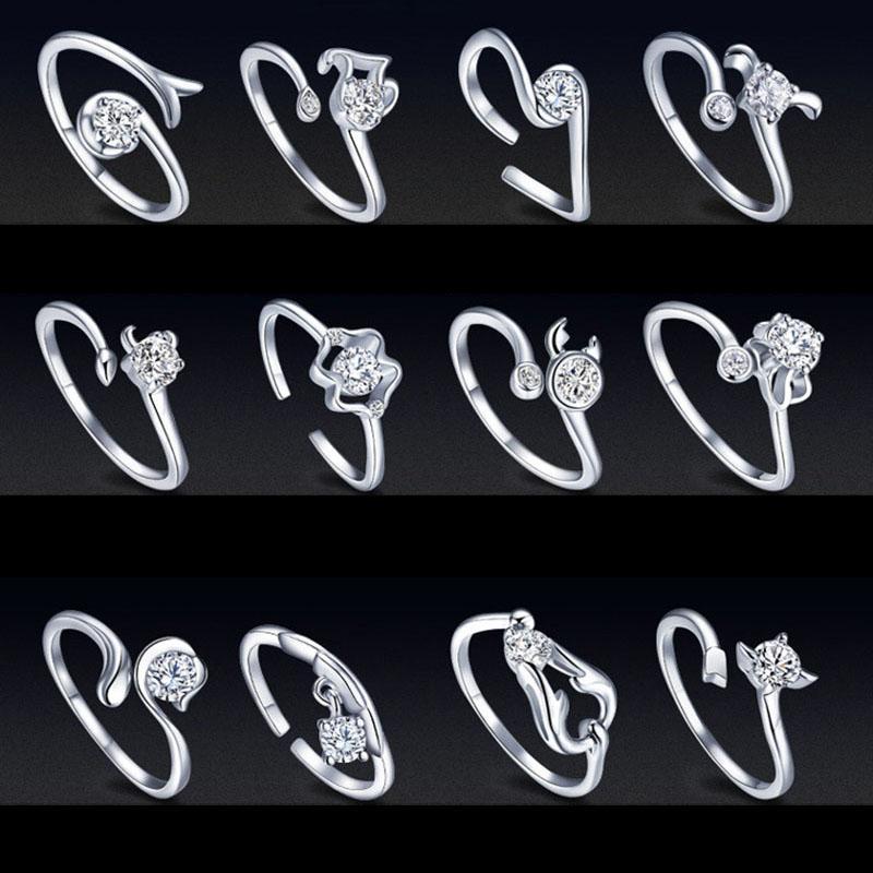 12 Anillo de horóscopo de constelación Anillos de signo de constelación ajustables abiertos de plata Anillo de bodas de cristal para mujeres Joyería de moda Envío directo