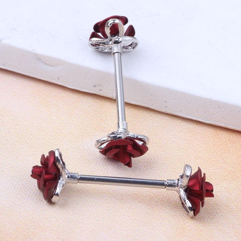 stainless steel Steel Love Rose Nipple Shield Bar Ring Body Piercing Jewelry wholesales 14 Gauges