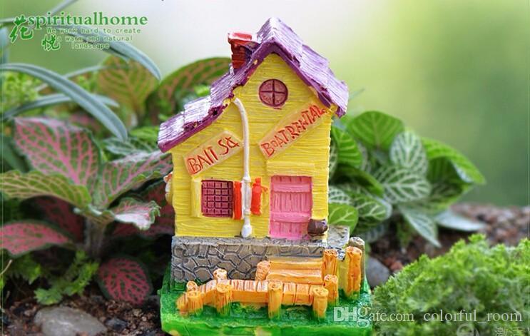 Hotsale 4 projetos villa casa de bonecas jardim de fadas miniaturas gnomos musgo terrários resina artesanato para diy casa decorações acessórios