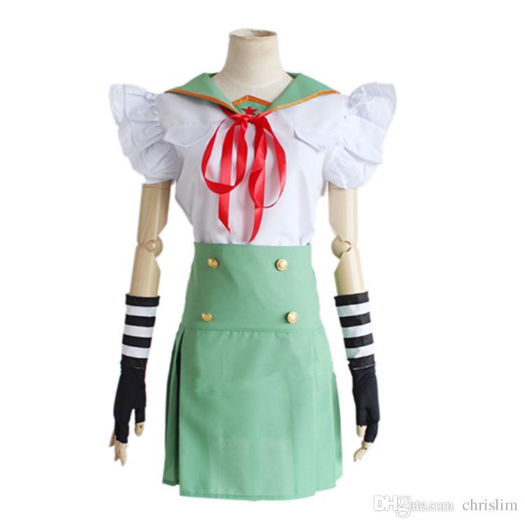 Japanese Anime SCHOOL - IN DIRETTA! Cosplay Ebisuzawa ragazze Kurumi Costume Top + Gonna + Legging + Guanti set