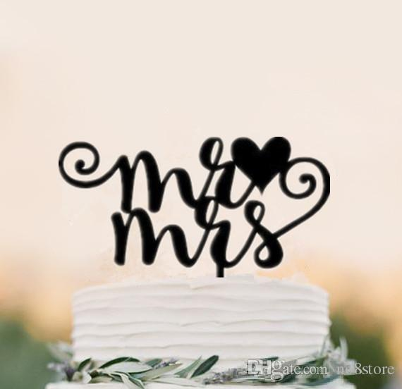 2018 Black Acrylic Wedding Cake Topper Initials Mr And Mrs Decorations With From No8store 52