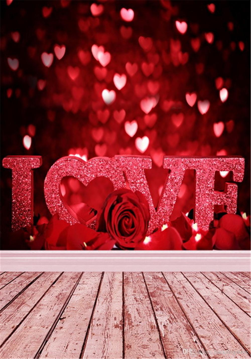 2018 sparkle love hearts red bokeh backdrops romantic roses