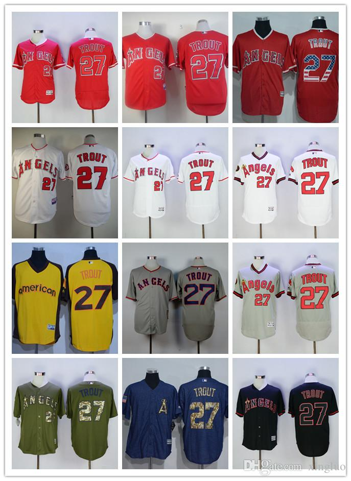 half off 8131f baf4c store la angels of anaheim 27 mike trout gray jersey 738aa 0ed48