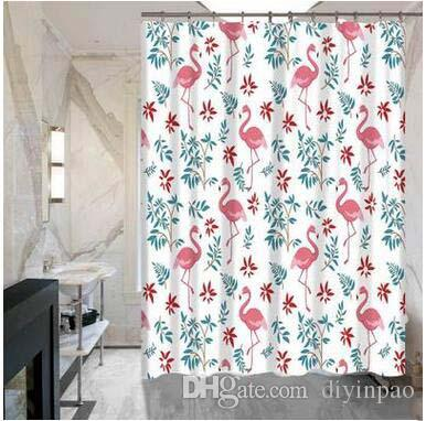 2018 Bathroom Flamingos Shower Curtains 150180CM Hotel School Waterproof Not Fade Cute Cartoon Printed Door Curtain From Diyinpao