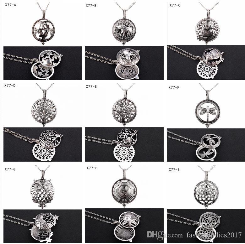 Дешевые ароматерапия духи диффузор ожерелья мода жизнь дерево Сова эфирное масло диффузор медальон ожерелье ювелирные изделия клетка кулон с pad