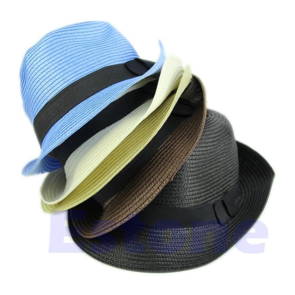 0a65a9c27c3 Wholesale-Fashion Women Trilby Cap Summer Beach Sun Straw Panama ...