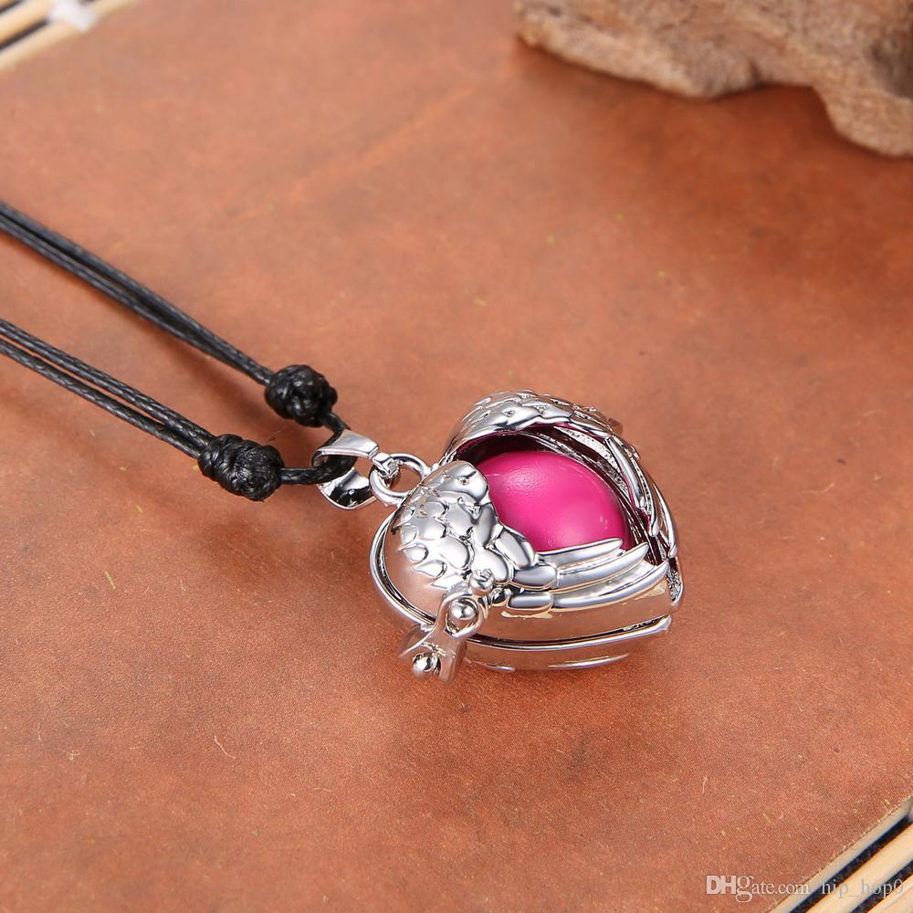 Mexican Bola Angel Caller Chime Ball Pendant Necklace Women Pregnancy Baby Love Heart-Shaped Hollow Cage Bell Pendant Fit 16mm Chime Ball