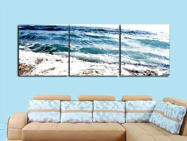 Çerçevesiz 3 Parça sanat resim ücretsiz kargo Ev dekorasyon Tuval Baskılar Temizle mavi deniz su şube yaprak Ayçiçeği Karikatür çiçek Erik