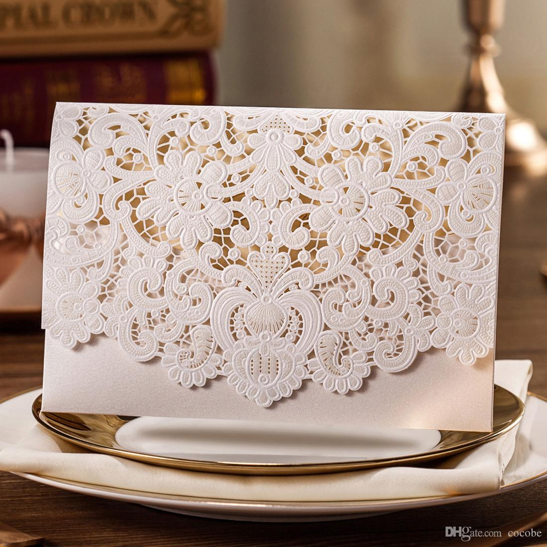 Amazing Laser Cut Wedding Invitations Card With Embossed Flower Printable Paper  Cards Engagement Marriage Bride Shower Invites Envelope Seal Cw073 Muslim  Wedding ...