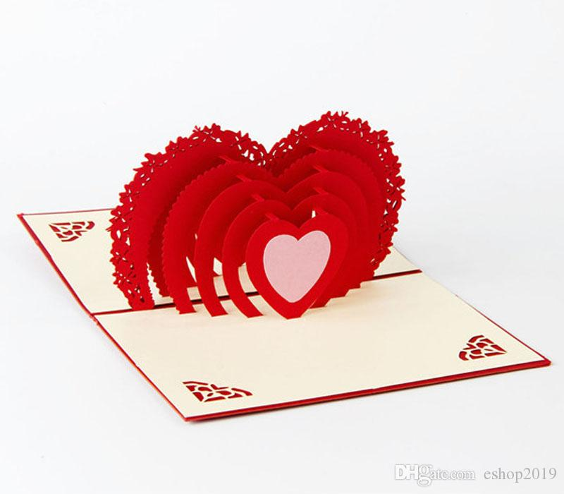 handmade pop up greeting cards thank you cards birthday card decorations Creative stereoscopic 3D love Valentine Greeting Card