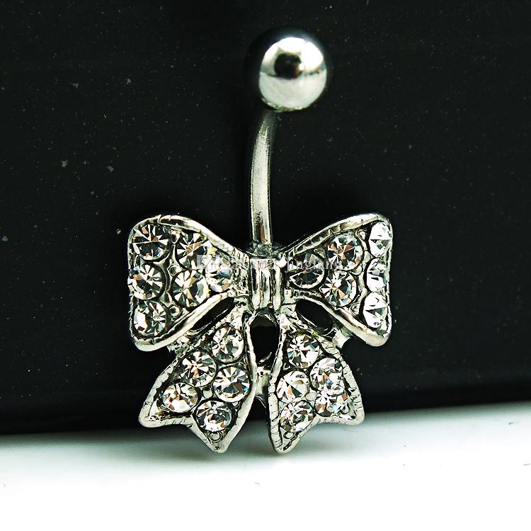 Brand New Belly Button Ring Stainless Steel White Rhinestone Wide Bow-tie Navel Rings Body Piercing Jewelry