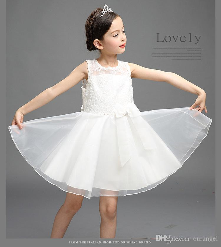 448dcda82b 2019 2016 Hot Sale Sleeveless Girl Net Yarn Baby Lace Vest Dresses Floral  Printed Hollow Out White Wedding Dress Party Prom Dress Children Clothe  From ...