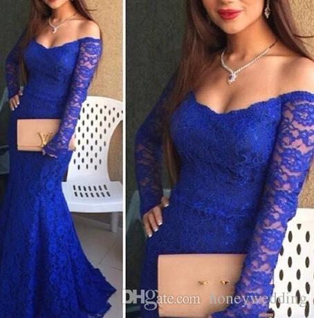 Arabic Royal Blue Mermaid Prom Dresses Evening Wear With Off Shoulder Long Sleeves Full Lace Sexy Women Formal Occasion Evening Gowns