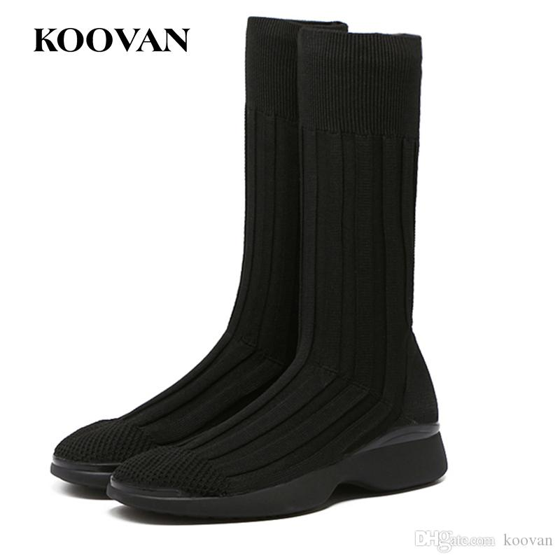 730de1ae564 Fashion Boots Half Boots Knitting Sock Boots Flat Heel 2017 Koovan Women  Man Korean High Quality Free Ship W179 Black Ankle Boots Wedge Shoes From  Koovan