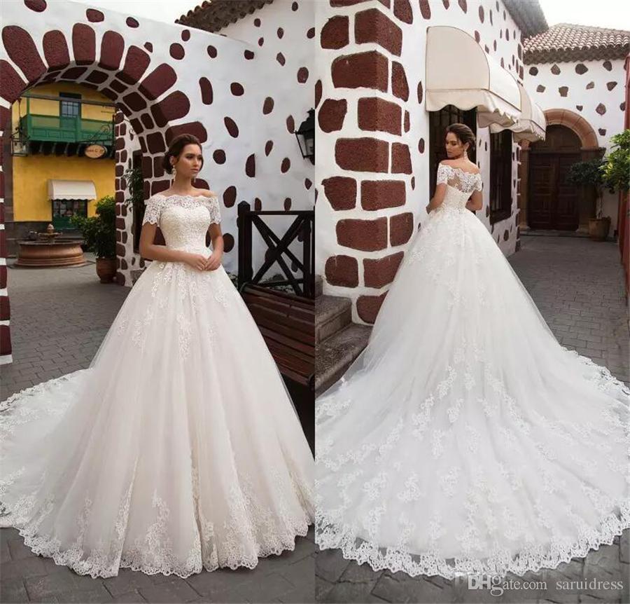 e351159be Discount Romantic Princess Short Sleeves Bride Gown Glamorous 2018 Lace  Appliques Chapel Train A Line Wedding Dresses Robe De Mariage Ball Wedding  Gowns ...