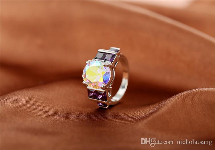 Wholesale Charm Fancy Shinning Round Cut Rainbow Sapphire & Amethyst 925 Sterling Silver Ring Size 6 7 8 9 Noble Jewelry
