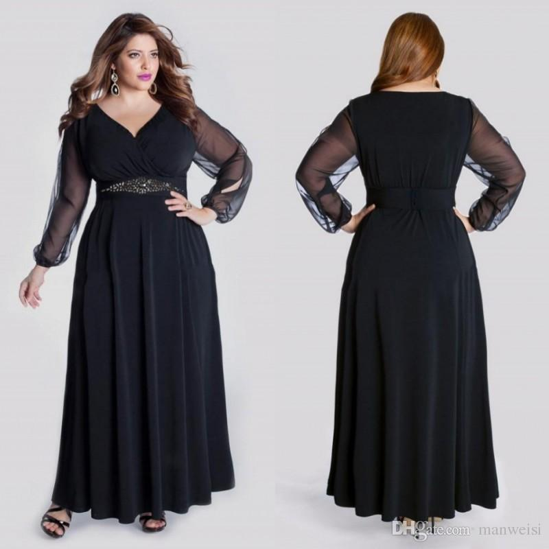 Black Long Sleeve Plus Size Formal Prom Dresses V Neck Crystal Sash