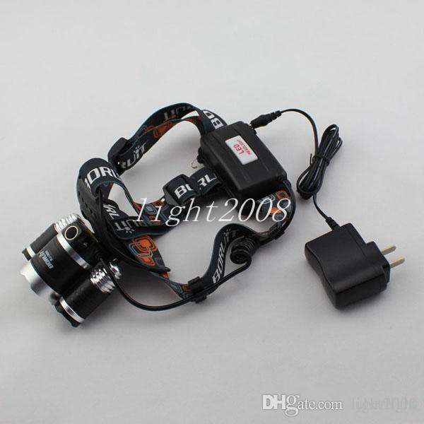 Low-cost short 5000LM JR-3000 3X CREE XML T6 LED Headlamp Headlight 4 Mode Head Lamp + AC Charger for bicycle bike light outdoor Sport