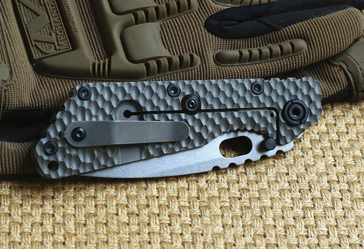 ST outdoor gear SMF Folder Titanium handle D2 blade Copper washers Tactical Folding Knife hunting survival Knives EDC self defense Tools