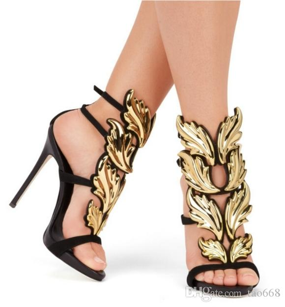 Bombas Oro Verano Aguja Fiesta Tacones Mujer Ala Hoja Cuero Genuino Sandalias De Hebilla Plata Zapatos dCBoex