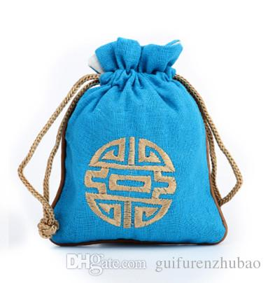 China Craft Cotton Linen Pouch Eco Sieraden Gift Zakken Borduurwerk Joyous Decoratieve Verpakking Zak Bruiloft Verjaardagsfeestje Gunstzakken 14 x 16 cm