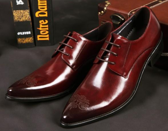 Top end Men leather dress shoes waxed cow leather printed flora pointed toe Exclusive store quality