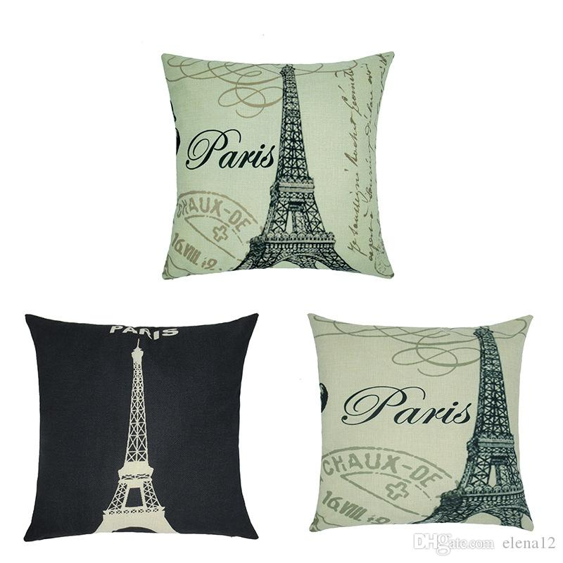 Cotton Linen Paris Eiffel Tower Stamp Square Pillowcase Super Soft Throw Pillow Cushion case home Textile PARIS Cafe Cushion 240626