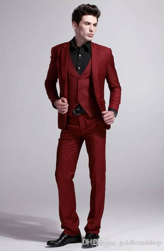 High Quality New Wine red Business Casual Men Dress Wedding Suits For Men Wedding Groom Suit Slim Fit Jacket+Pants+Vest
