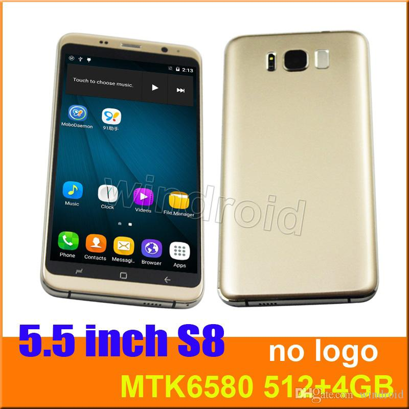 "S8 no logo 5.5"" Quad Core MTK6580 Android 6.0 Smart phone 512 4GB Dual camera 5MP SIM 540*960 3G WCDMA Unlocked Mobile Gesture Free case"