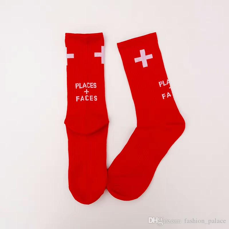 Places + Faces Socks Men's Cotton Football Basketball Stockings Red White Black Blue Green Sports Socks LLWG0905